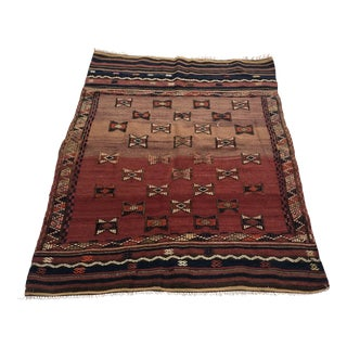 Turkish Handwoven Vintage Kilim Rug - 3′8″ × 4′10″ For Sale