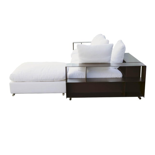 "Modern Flexform ""Groundpiece"" Modular Sofa with Leather Armrest/Shelves, Made in Italy For Sale - Image 3 of 10"