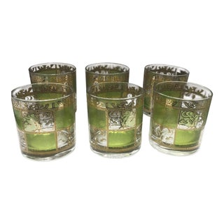 Culver Ltd. Prado Green and Gold Glassware - Set of 6 For Sale