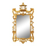 Image of Mid 20th Century English Chinese Chippendale Gilt Carved Wall Mirror For Sale