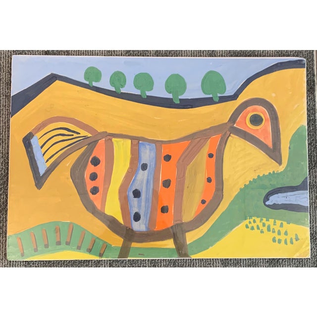 Yellow 1964 G. L. Long Orange Abstract Acrylic Bird / Animal Painting For Sale - Image 8 of 8
