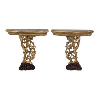 Pair 19th Century Italian Giltwood Hand Carved Consoles For Sale