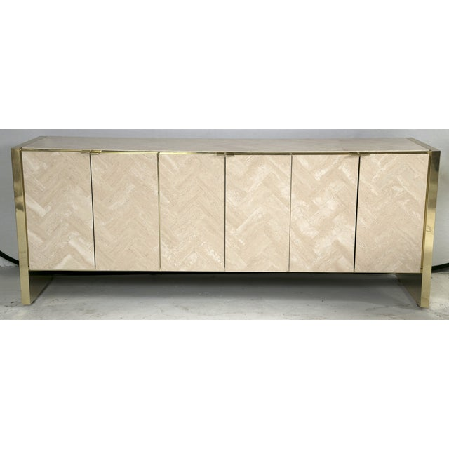 Ello Polished Travertine & Brass Credenza - Image 3 of 10