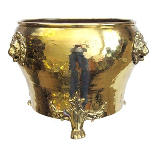 A Rare Imperial Russian Hand-Hammered Brass Jardiniere W/Lion Head Mounts For Sale