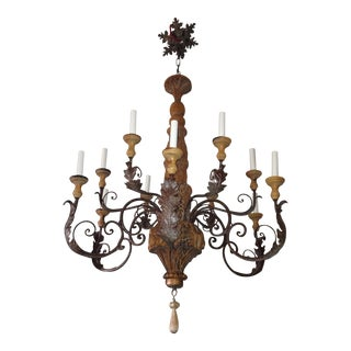 Vintage Iron & Wood Chandelier For Sale
