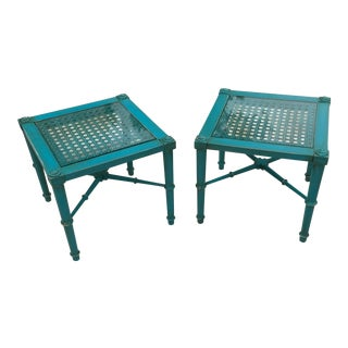 Chinese Chippendale Distressed Foot Stools or Side Tables For Sale