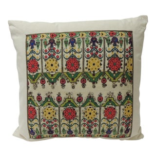 Red & Yellow Turkish Colorful Embroidery Decorative Pillow For Sale