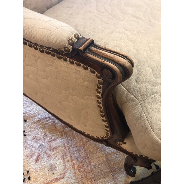 Carved Walnut French Style Club Chair With Quilted Upholstery For Sale - Image 10 of 13
