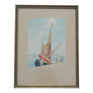 Mid 20th Century French Sailboat Watercolor For Sale