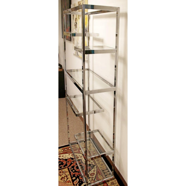 1970s Mid-Century Modern Milo Baughman Chrome & Glass Shelves Etagere 1970s For Sale - Image 5 of 8