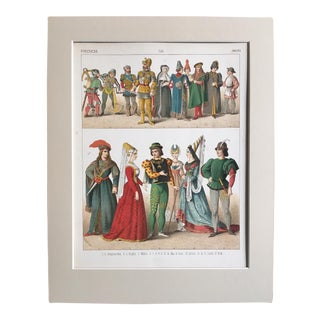 "19th Century Costume Print ""French 1400"" For Sale"