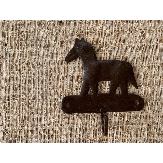 1980s Metal Horse Hooks - a Pair For Sale - Image 4 of 5