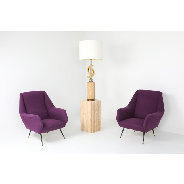Metal 1950s Ico Parisi Easy Chairs With Purple Upholstery - a Pair For Sale - Image 7 of 12