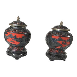 Chinese Black and Red Cinnabar Ginger Jars With Black Wooden Bases - a Pair For Sale