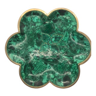 1970s Large Malachite and Brass Scalloped Platter For Sale