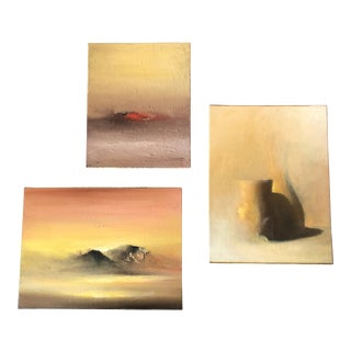Gallery Wall Collection 3 Original 1970's Landscape & Still Life Paintings Set of 3 For Sale