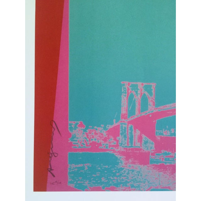 """Paper Andy Warhol Foundation Vintage Pop Art Lithograph Poster """" Brooklyn Bridge """" 1983 For Sale - Image 7 of 9"""