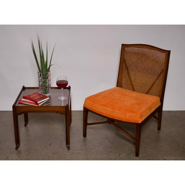 """1940s Antique """"American of Chicago"""" Mid-Century Modern Walnut & Cane Accent Chair With Side Table For Sale - Image 9 of 13"""