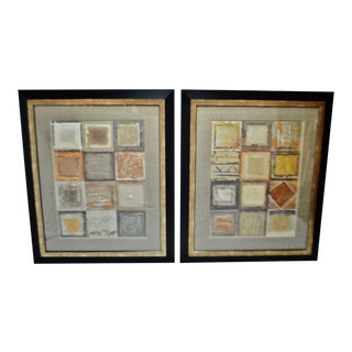 Vintage Large Scale Framed Geometric Design Wall Art - a Pair For Sale