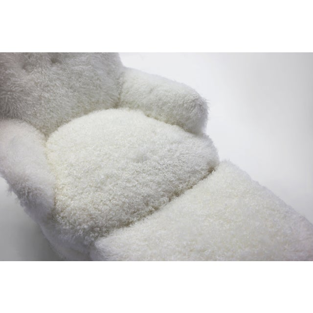 White Shearling Covered Shaped Back Chair With Wood Base and Legs With Metal Cap Feet For Sale - Image 8 of 11