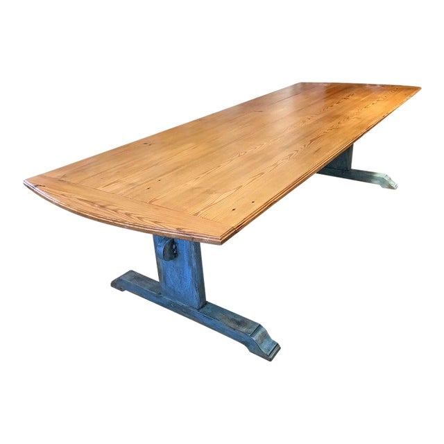 19th Century Scandinavian Painted Dining Table With Trestle Base For Sale
