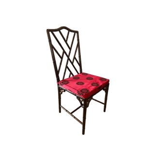 Chinese Chippendale Rosewood Faux Bamboo Dining Chair For Sale