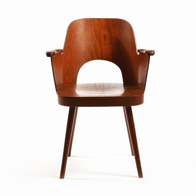 Beech Mid-Century Armchair by Oswald Haerdtl for TON For Sale - Image 7 of 7
