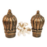 Image of Vintage Large Hand Carved Finials - a Pair For Sale