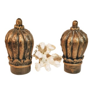 Vintage Large Hand Carved Finials - a Pair For Sale
