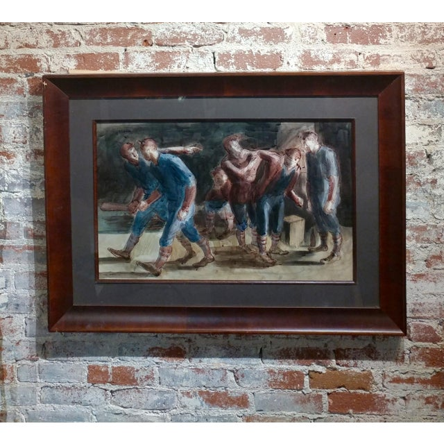 Carl Hugo Beetz- Taking the Baseball Field - Mix Media Painting- c1939 For Sale - Image 10 of 10