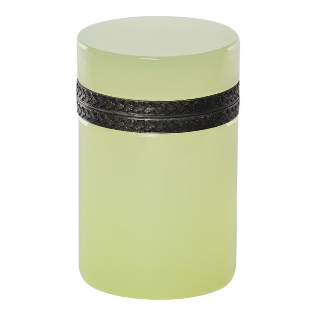French Opaline Uranium Glass Cylindrical Hinged Box For Sale