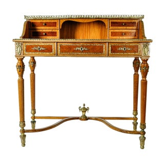 Antique French Louis XV Style Satinwood Writing Desk For Sale