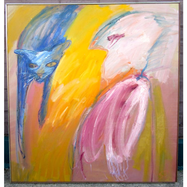 """1970s Expressionist Portrait """"Goodbye Saki"""" Outsider Art Oil Painting on Canvas Bird and Cat Portrait by Suzanne Peters For Sale - Image 12 of 12"""