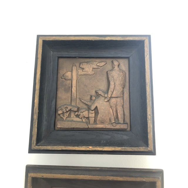 1940s Bronze Wpa Plaques - Set of 6 For Sale In West Palm - Image 6 of 12