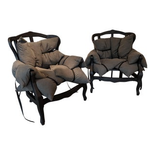 "Modern Marcantonio Italian ""7 Pillows"" Armchairs- a Pair For Sale"