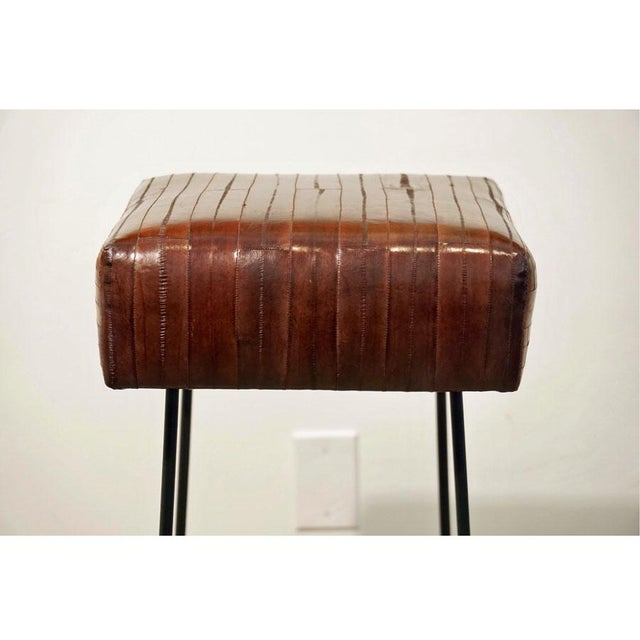 1970s 1970s Frederick Weinberg Eel Skin Stools - a Pair For Sale - Image 5 of 8