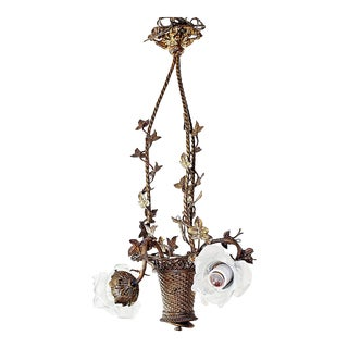 Franch Bronze-Dore' FLower-Basket Chandelier For Sale