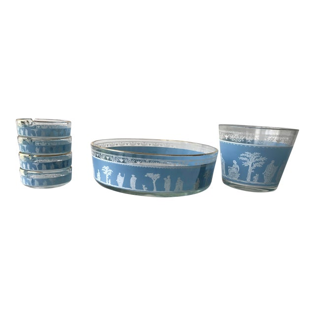 1970s Mid Century Blue Jeannette Wedgwood Glass Hellenic Party Set - Set of 6 For Sale