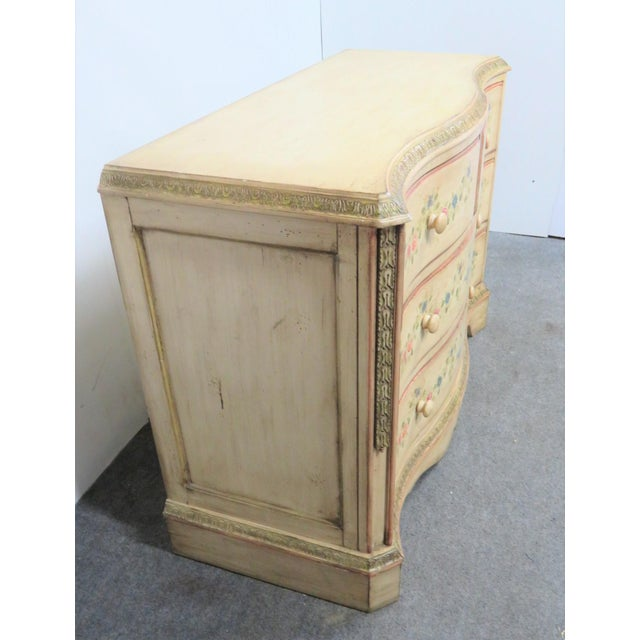 French Style Paint Decorated Serpentine Front Dresser, cream painted with floral decoration on drawers, two short drawers...