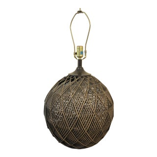 Retro Boho Chic Round Rattan Lamp For Sale