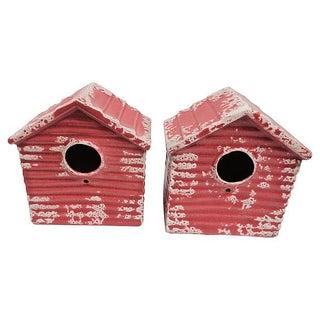 Portuguese Terracotta Birdhouses - A Pair For Sale