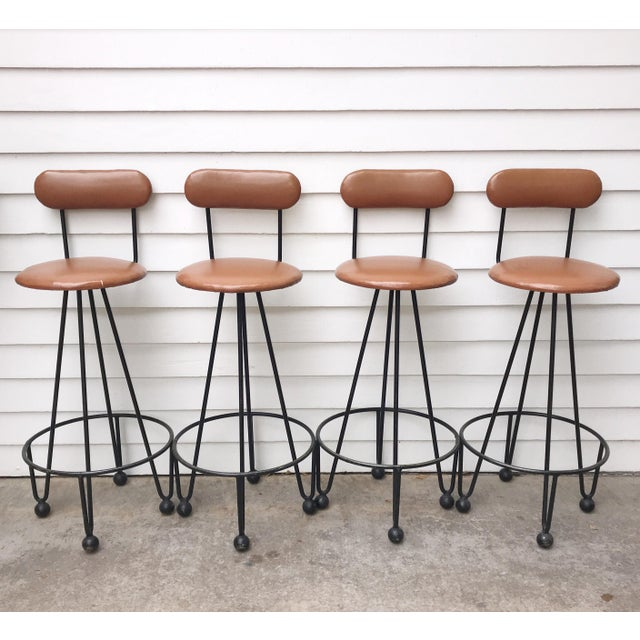 Vintage Mid-Century Frederick Weinberg Style Iron Hairpin Bar Stools- Set of 4 For Sale - Image 13 of 13