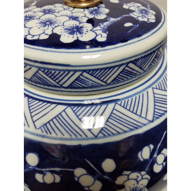 Brass Chinese Blue & White Hawthorne Blue Porcelain Table Lamps - a Pair For Sale - Image 7 of 8