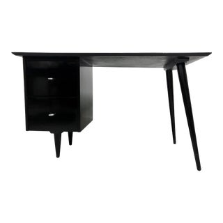 Mid Century Modern Paul McCobb Planner Group Desk in Black Lacquer For Sale