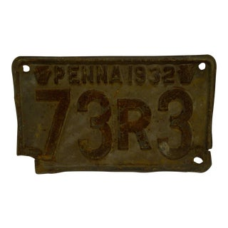 "Vintage Metal Motorcycle License Plate 1932 PENNA - ""73R3"" For Sale"