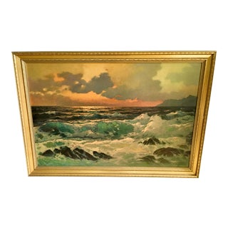 1960s Vintage Alexander Dzigurski Emerald Sea Reproduction Lithograph Print For Sale