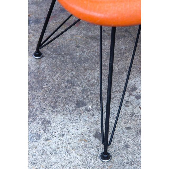 Black Eames Molded Fiberglass Armchair in Orange For Sale - Image 8 of 10
