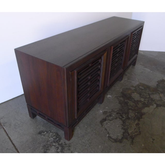 1950s Mid-Century Low Walnut Cabinet For Sale - Image 5 of 7
