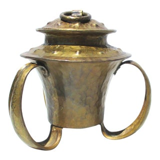 Arts and Crafts Three Handled Hammered Copper Handmade Vessel For Sale