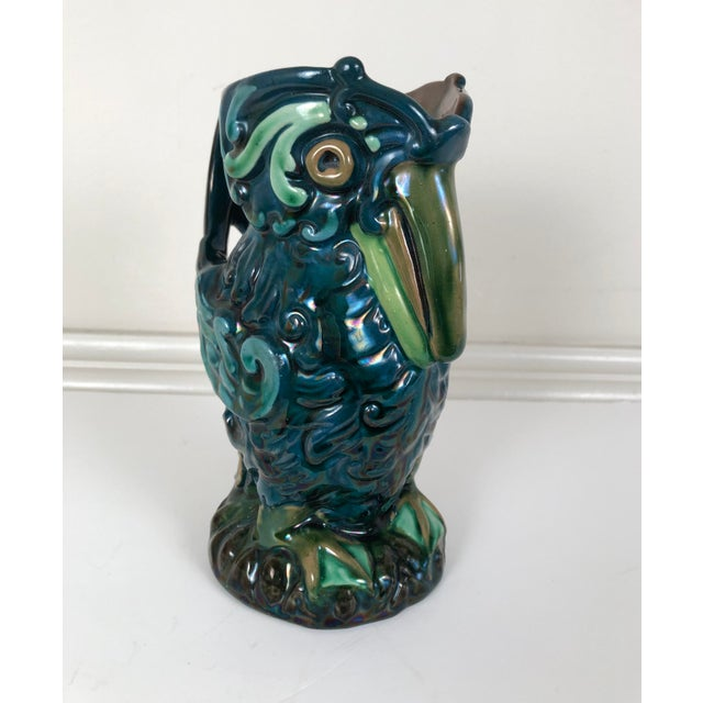 Early 20th Century Longpark English Art Pottery Bird Pitcher For Sale - Image 5 of 13